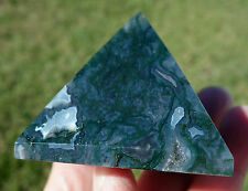 MOSS AGATE Crystal Pyramid Point Healing Grounding Meditation Stone GREEN BLUE