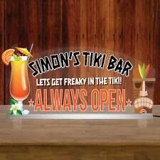 """TIKI BAR LED Sign, Personalised Illuminated Bar Sign, Light up Pub Sign 12""""x6"""""""