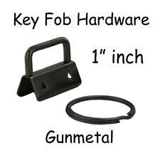 10 Key Fob Hardware w/ Key Rings Sets - 1 Inch (25 mm) Gunmetal + Instruc.