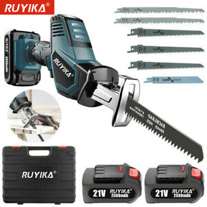Electric Cordless Reciprocating Saw Wood Metal Cutting w/ 6 Blades 2 Battery 21V
