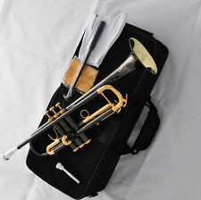"""TOP Black Nickel Gold Bell Trumpet 4-7/8"""" Horn Engraving Free 2 Mouthpiece Case"""