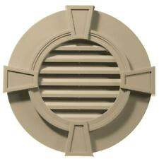 Builders Edge 30 in. Round Gable Vent with Keystones in Light Almond
