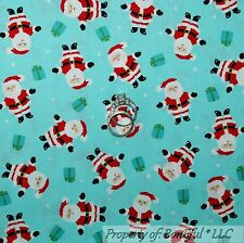 BonEful FABRIC Cotton Quilt Aqua Blue White Dot Red Xmas Santa Claus Gift SCRAP