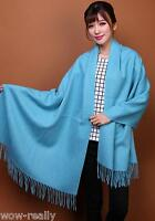 BLUE Solid Color Pashmina Paisley Floral Silk Wool Scarf Wrap Shawl Soft Classic