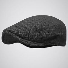 EM Herringbone Ivy Hat Wool Stripe Gatsby Cap Golf Driving Flat Cabbie Newsboy
