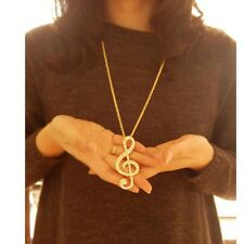 Vintage Gold Plated Music Note Symbol With Crystal Pendant Long Chain Necklace