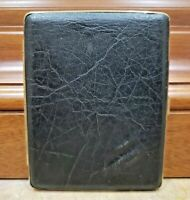 Vintage Working Side Hinged Black Leather and Brass Cigarette Case   375/17