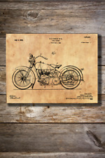Vintage Reproduction Canvas Print of 1925 Harley Davidson Cycle Support Patent