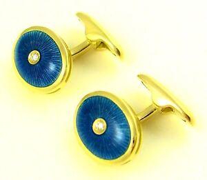 ANTORA 18K SOLID YELLOW GOLD DIAMOND & TURQOIS BLUE ENAMEL CUFFLINKS new
