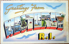 1940 Large Letter Linen Postcard: Sailboats - WESTERLY, Rhode Island RI