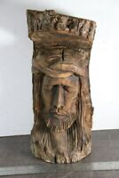 """Vintage 15"""" Tall Hand Carved Wood Sculpture of a Man Male Face Figure"""
