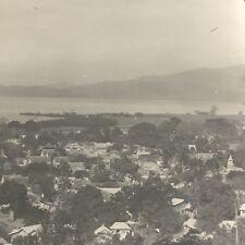 Antique Magic Lantern Glass Slide Photo Trinidad Port Of Spain Panoramic C1900