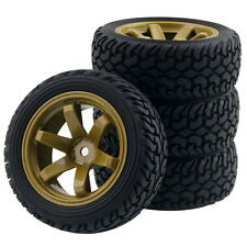 RC HSP HPI 705-8019 Rubber Rally Tires & Wheel Rims For 1:10 On-Road Rally Car