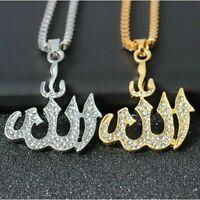 Damen Kette Allah Muslim Kristall Anhänger Halskette Schmuck Gold Silber