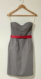 Alannah Hill 8 10 Mini Dress Pencil Grey Red Tartan Pockets She's a High Roller