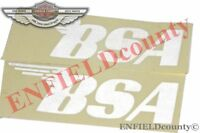 FUEL TANK BSA LOGO STICKERS DECAL WHITE SET OF 2 BSA MOTORCYCLE @AUD