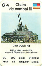 DCA M42 USA ETATS UNIS  CHAR COMBAT TANK PLAYING CARD CARTE A JOUER