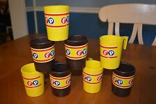 FISHER PRICE - CUSTOM MADE YELLOW AND BROWN DRINKING CUPS WITH HANDLES