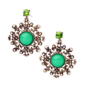 Earrings Nails Golden Chandelier Art Deco Green Grass Baroque Retro AA21