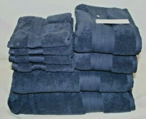Hotel Collection Eight Piece Solid Dark Blue Bathroom Towel Set NWT