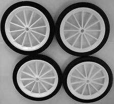 """4x 160mm (6 """") Bianco in Plastica a raggiera con Ruote Nero pneumatico"""
