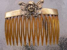 Vintage Fairy Antiqued Brass Comb Cover with New Faux Shell Comb Made in USA