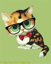 a8dd251bd50 Nerd Cat Art Print 8 x 10 - Kawaii Cute Kitten with Glasses - Hipster -