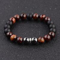 Douvei 10mm Tigers Eye Hematite Onyx Gemstone Beaded Men's Bracelet Jewelry Gift
