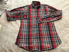 XS RED CHECK CUSTOM FIT POLO RALPH LAUREN LONG SLEEVE SHIRT..80'S CASUAL.