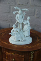 German Scheibe alsbach marked porcelain bisque statue group fruit picking marked