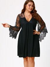 Plus Size Women'S Tunic Dress Sexy V-Neck Lace Panel Flare Sleeve Holiday Dress
