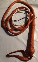 8 Foot 12 Plait TAN REAL Leather Bullwhip Western Mustang Riders Bull Whip  #WMR