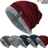 Unisex Hats Mens Womens Knitted Baggy Beanie Winter Warm Hat Ski Fleece Knit Cap