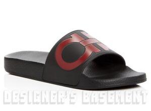 SALVATORE FERRAGAMO mens 7M black & red GROOVE slides FLIP-FLOPS shoes NIB Auth
