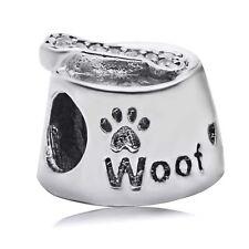 925 Sterling Silver Woof Dog Bowl Bone Charm Bead CZ Fit European Bracelet Chain