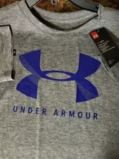 Womens Under Armour Top NEW Loose Fit Athletic shirt Grey flex Blue Large