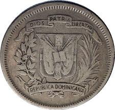 1944 DOMINICAN REPUBLIC Silver Liberty LIBERTO Arms Antique Silver Coin i74274