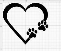"PAW PRINT HEART 3"" Die cut Vinyl Decal - Car Window Sticker PUPPY I LOVE MY DOG"