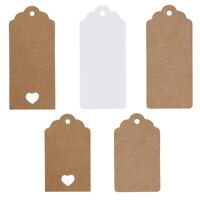 50pcs Kraft Paper Gift Tags Scallop Label Luggage Wedding Blank + Strings