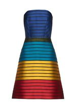 MARY KATRANTZOU Rainbow Striped Silk Blend Strapless A Line Dress It 44 UK 12