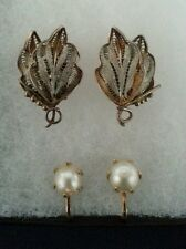 Pearl n Silver Two Pair Vintage Clip Twist on Earrings Genuine Vermeil