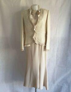 Presen 3 Piece Size UK18 Knee Length Cream Skirt Jacket Top Formal Smart 161088