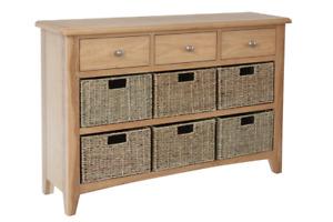 Light Oak 3 Drawer Unit With 6 Wicker Baskets- Fully Assembled- Oak or White