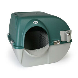 Omega Paw Premium Roll N Clean Self Cleaning Enclosed Cat Litter Box, Green