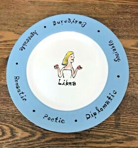 Pottery Barn What's Your Sign? Dessert Salad Plate Traits Libra Blue