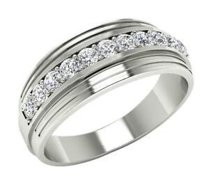 VS1 E Men's Engagement Ring 0.55 Carat Round Diamond 14K White Gold Appraisal