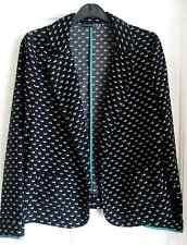Ladies Black Print Jacket Size 8 Excellent Condition!