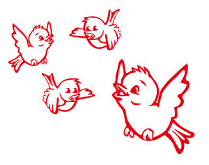 4 Spatzen Vögel - Fenster Aufkleber Sticker Wandtattoo