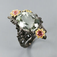 Natural Green Amethyst 925 Sterling Silver Ring Size 6.75/RR17-1226