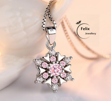 Crystal Pink Snowflake Pendant 925 Sterling Silver Necklace Women Gift Jewellery